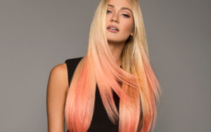 peach cobbler con extensiones adhesivas hairtalk